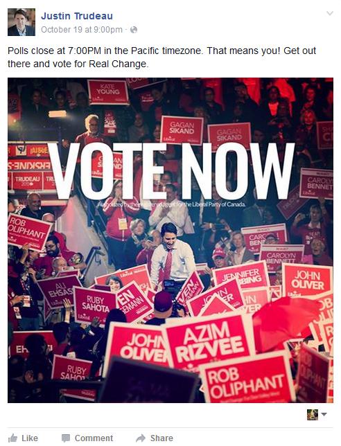 "Justin Trudeau ""VOTE NOW"" image"
