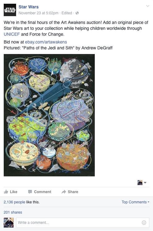 Star Wars Facebook post